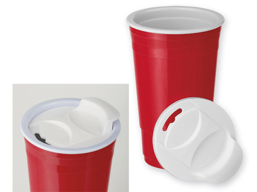 GOBLET plastový termohrnek s dvojitou stěnou, 500 ml, červená