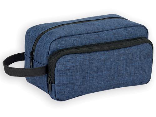 KEVIN polyesterová kosmetická taška, 300D, Modrý melír
