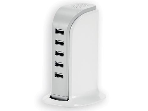 USBAN síťová nabíjecí stanice s 5 USB porty, Bílá